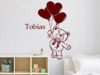 Wandtattoo Teddybär mit Name im Kinderzimmer