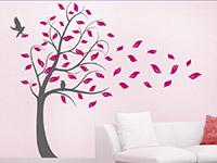 Baum im Sturm Wandtattoo als zweifarbige Wanddeko mit Blättern