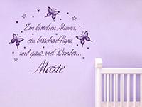 Wandtattoo Ganz viel Wunder mit Name im Babyzimmer