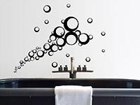Fliegende Kreise Wandtattoo Ornament im Badezimmer in schwarz