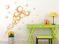 Fliegende Kreise Wandtattoo Ornament in orange