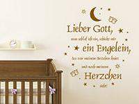 Baby Wandtattoo Abendgebet mit Sternen im Babyzimmer