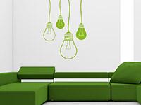 Ausgefallenes Design Wandtattoo Glühbirnen in grün