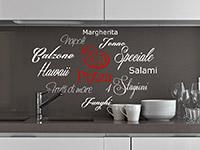 Pizza Wandtattoo Schrift in weiß und rot