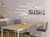 Asiatische Sushi Wandtattoo Schrift in weiß und schwarz