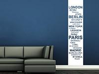 Banner Wandtattoo Weltstädte im Wohnzimmer