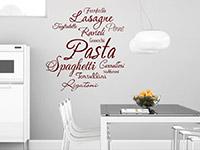 Wandtattoo Pasta Sorten in der Küche