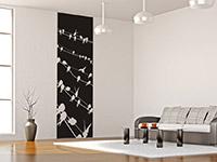 Vögel Wandtattoo Banner in schwarz im Wohnzimmer