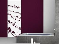 Wandtattoo Banner Vögel in weiß im Bad