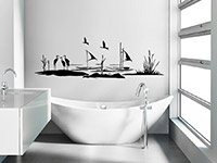 Landschaft Wandtattoo mit Kranichen und Booten im Badezimmer