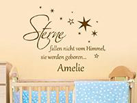 Baby Wandtattoo Sterne fallen nicht... im Kinderzimmer