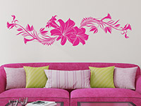Florales Wandtattoo Ornament mit Lilien in pink