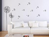 Pusteblume Wandtattoo Modern in schwarz im Wohnzimmer