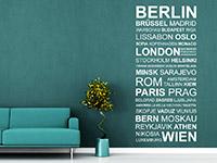 Europa Wandtattoo Hauptstädte im Wohnzimmer