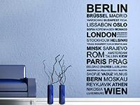 Hauptstädte Wandtattoo als dekorative Wandgestaltung