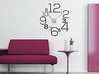 Wandtattoo Uhr Große Zahlen im Wohnzimmer