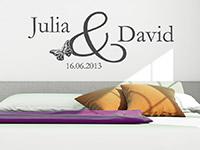 Hochzeits Wandtattoo Namen mit Datum im Schlafzimmer