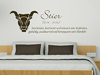 Wandtattoo Sternzeiche Stier im Schlafzimmer