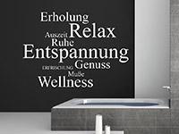 Entspannungs Begriffe Wandatttoo über der Badewanne