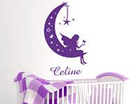 Baby Wandtattoo Mondfee mit Wunschname im Kinderzimmer