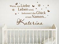 Namen Wandtattoo Wenn aus Liebe Leben wird... mit Sternen