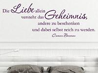Brentano Zitat Wandtattoo Die Liebe allein... im Schlafzimmer