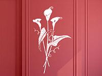 Blüten Wandtattoo Calla in weiß auf roter Wand