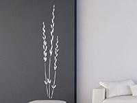 Wandtattoo Getreidehalme im Wohnzimmer in weiß