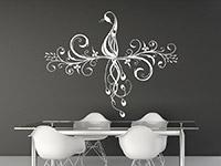 Verschnörkeltes Wandtattoo Ornament mit Pfau in weiß