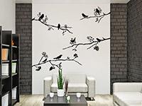 Wandtattoo Set Äste mit Vögeln in schwarz