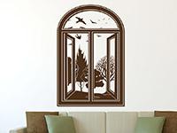 Fenster Wandtattoo mit Aussicht in braun