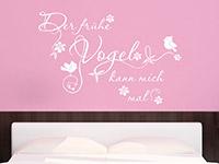 Wandtattoo Spruch Der frühe Vogel... mit Schnörkel im Schlafzimmer
