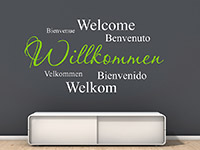 internationales Willkommen Wandtattoo im Flur