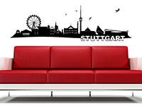 Skyline Wandtattoo Stuttgart im Wohnzimmer