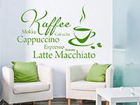 Kaffee Wandtattoo mit Tasse und Bohnen im Wohnbereich