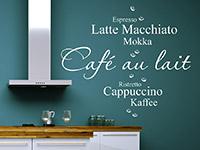 Wandtattoo Café au lait mit Kaffeebohnen