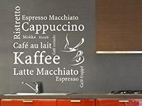 modernes Kaffeesorten Wandtattoo mit Kaffeetasse