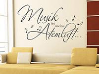 Musik ist meine Atemluft Wandtattoo im Wohnzimmer