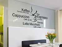 Wandtattoo Kaffeetasse mit Kaffeesorten | Bild 2