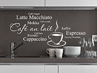 dekoratives Kaffee Cappuccino, Latte Macchiato Wandtattoo in der Küche