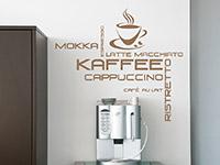 Kaffee Spezialitäten Wandtattoo über der Kaffeemaschine