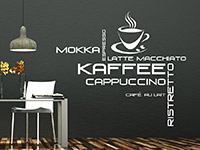 stylishes Kaffee Variationen Wandtattoo