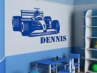 Wandtattoo Formel Auto mit Name im Kinderzimmer