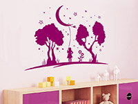 Baby Wandtattoo Bis zum Mond im Kinderzimmer