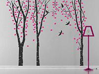 Wandtattoo Birkenwald im Flur in schwarz und pink