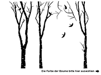 Wandtattoo Birkenwald Motivansicht