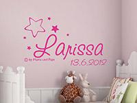 Wandtattoo Wunschname mit Datum und Sternen in pink