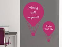 Tafelfolie Heißluftballons in pink im Büro