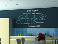 dekoratves zweifarbiges Guten Appetit Wandtattoo in der Küche