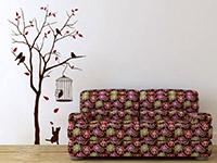 Wandtattoo Baum mit Vogelkäfig im Wohnzimmer